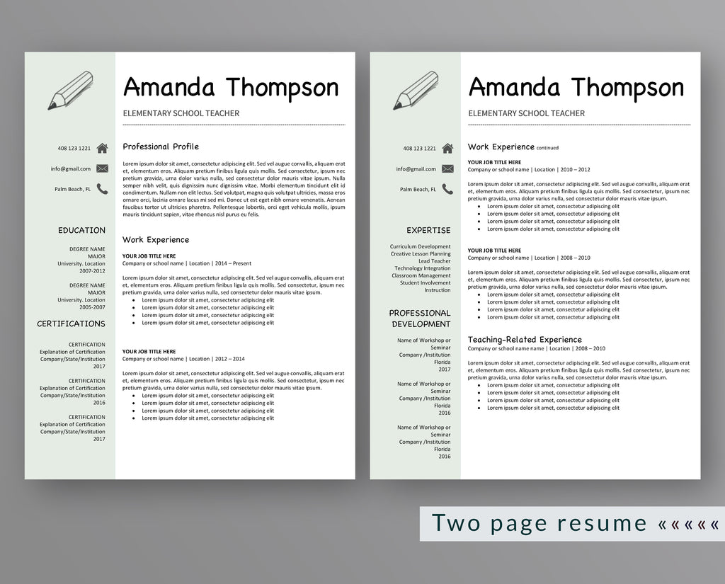 Teacher Resume Template Amanda Thompson – Outperforming Designs