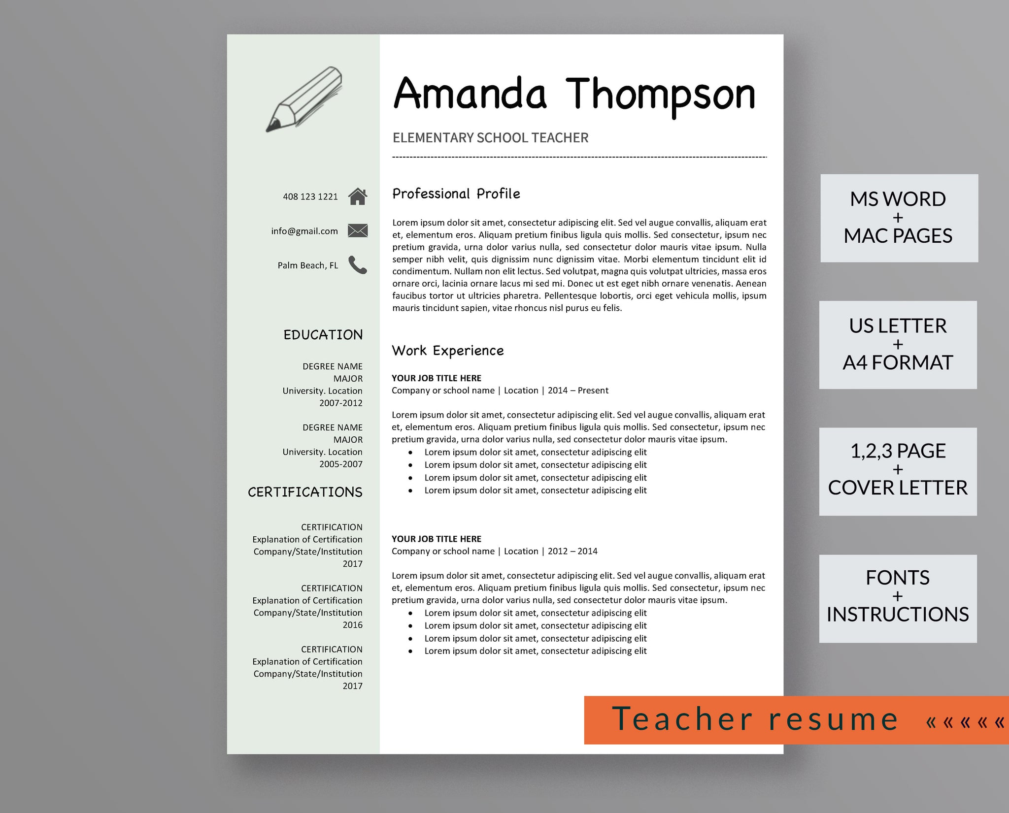 Teacher Resume Template Amanda Thompson - Outperforming Designs