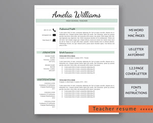 Teacher Resume Template Amelia Williams - Outperforming Designs