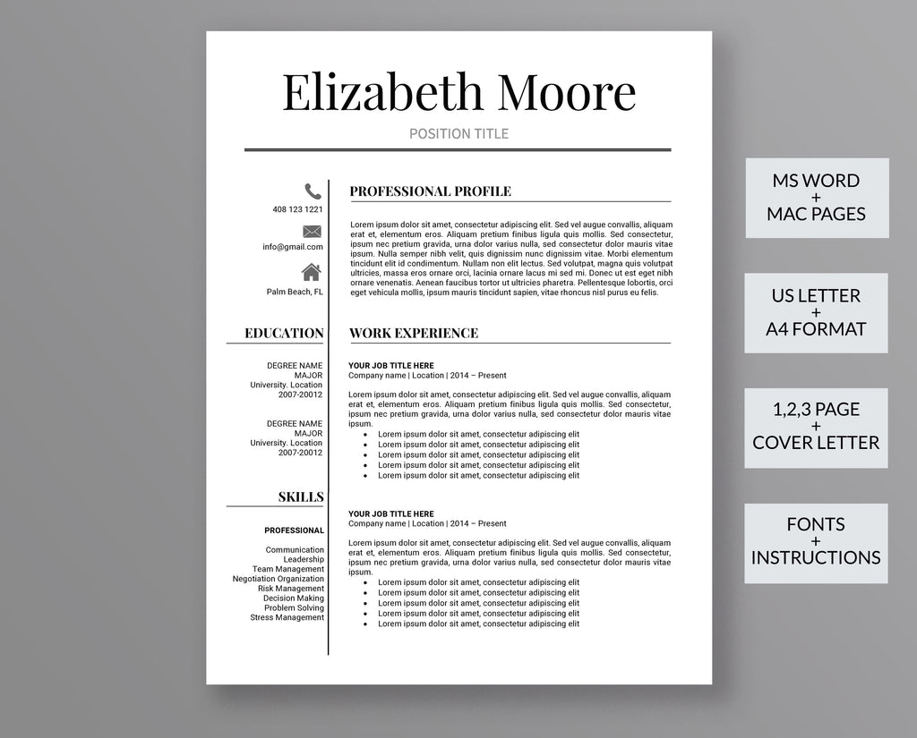 Professional Resume Template Elizabeth Moore – Outperforming Designs