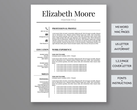 Professional Resume Template Elizabeth Moore - Outperforming Designs