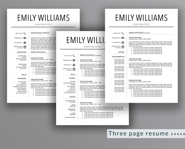 Professional Resume Template Emily Williams - Outperforming Designs
