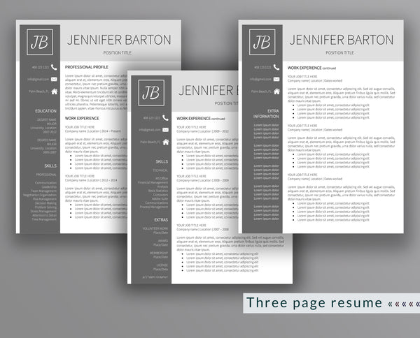 Professional Resume Template Jennifer Barton - Outperforming Designs