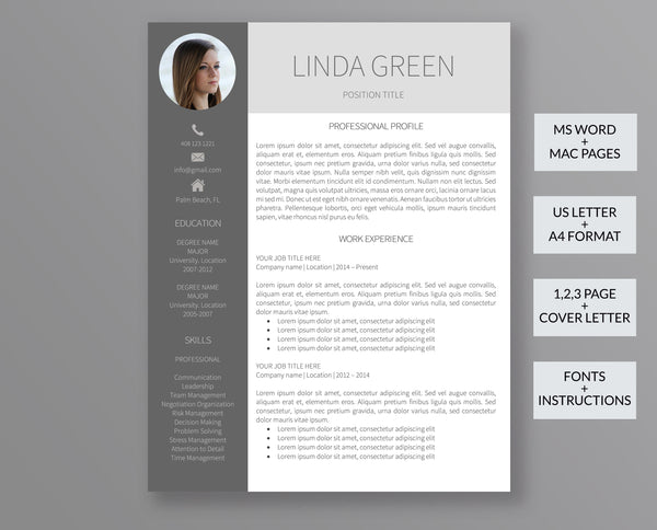 Resume Template with Photo Linda Green - Outperforming Designs