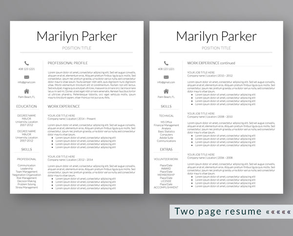 Modern Resume Template Marilyn Parker - Outperforming Designs