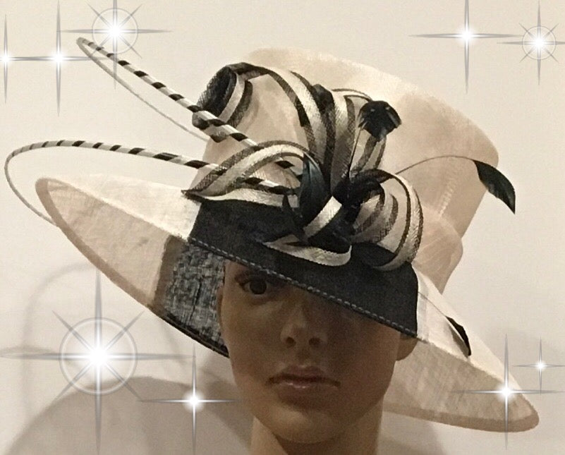 300-003 Black and White Sinamay Hat – Penelope s Fine Hats and ... e11b60dfc75