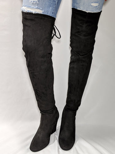 Over the knee boot in black