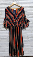Load image into Gallery viewer, Striped Ruffle Jumpsuit Plus