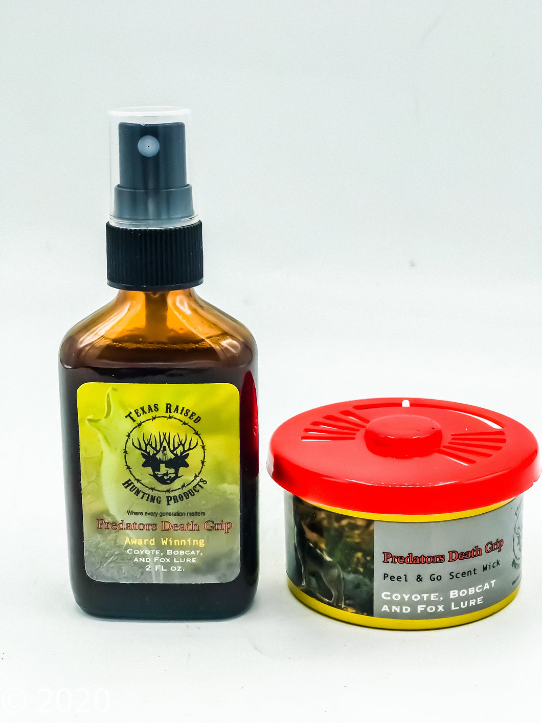 Predators Death Grip With (Wick Refresher) Buy 1 Get 1 FREE 12 oz. Bottle Of (Formula Patented Scent Eliminator) Customer must add SCENT GUARDIAN + PLUS OR SCENT GUARDIAN NO SCENT TO CART TO REDEEM OFFER!!! - Texas Raised Hunting Products