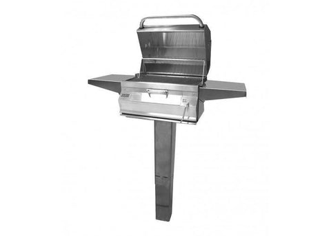 Fire Magic Charcoal In Ground Post Mount Grill with Smoker Hood (24 x 18) - 22-SC01C-G6 - JwGrills