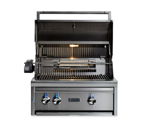 "Image of LYNX 27"" PROFESSIONAL BUILT IN GRILL WITH ALL CERAMIC BURNERS AND ROTISSERIE (L27R-3) - JwGrills"