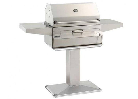 Fire Magic Charcoal Patio Post Mount Grill with Smoker Hood (24 x 18) - 22-SC01C-P6 - JwGrills