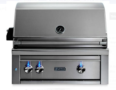 "Image of LYNX 30"" PROFESSIONAL BUILT IN GRILL WITH 1 TRIDENT INFRARED BURNER AND 1 CERAMIC BURNER AND ROTISSERIE (L30TR) - JwGrills"