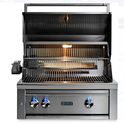 "Image of LYNX 30"" PROFESSIONAL BUILT-IN GRILL WITH ALL TRIDENT INFRARED BURNERS AND ROTISSERIE (L30ATR) - JwGrills"