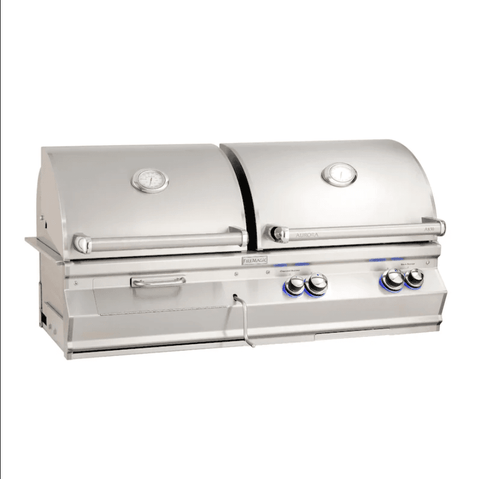 Image of Fire Magic Aurora A830I 46-Inch Built-In Gas & Charcoal Combo Grill With Analog Thermometer and Rotisserie Kit - A830I-8EAP-CB - JwGrills