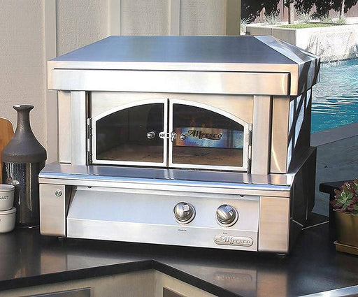 "Alfresco 30"" Built-In Natural Gas Outdoor Pizza Oven - AXE-PZA-BI-LP - JwGrills"