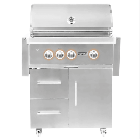 Image of Coyote S-Series 30-Inch 3-Burner Built-In Natural Gas Grill With RapidSear Infrared Burner & Rotisserie - C2SL30LP - JwGrills
