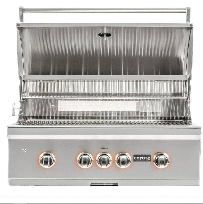 Coyote S-Series 36-Inch 4-Burner Built-In Natural Gas Grill With RapidSear Infrared Burner & Rotisserie - C2SL36LP - JwGrills