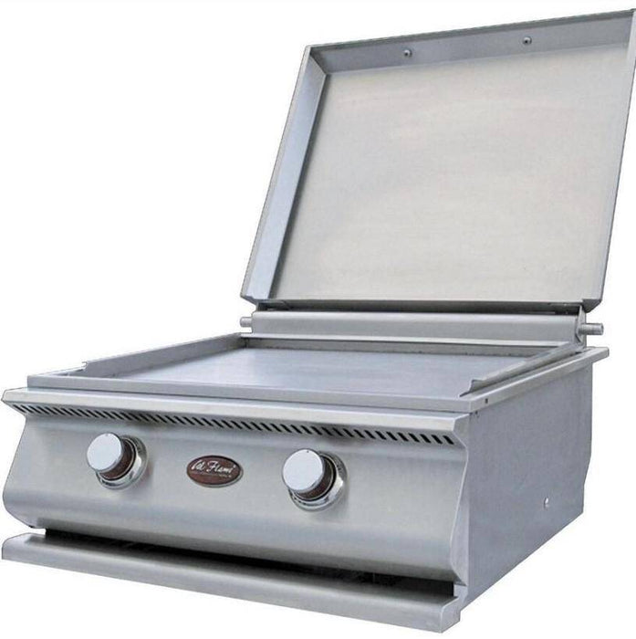 Cal Flame 24-Inch Built-In Stainless Steel Propane Gas Hibachi Griddle / Gas Grill W/ Removable Stainless Steel Cover - BBQ14900P - JwGrills