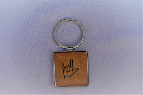 Silver/Wood Key Chain with