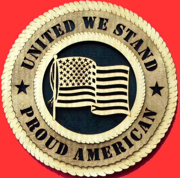 Generic United We Stand Proud American Flag 3D Tribute Plaque