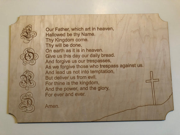 Lord's Prayer Sign - Etched Lord Letters