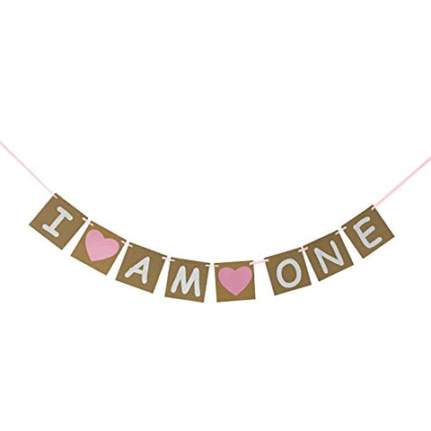 I Am One Banner For Girl - First Birthday Decorations - 1st Birthday