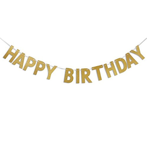 OULII Happy Birthday Banner Glitter Gold Garland Banner Flag for Birthday Party Decoration