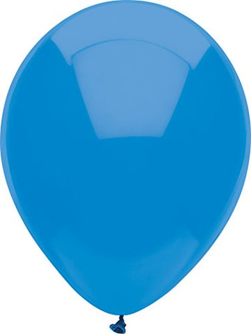 Partymate 12 Round Solid Color Latex Balloons, 15-Count, Bright Blue