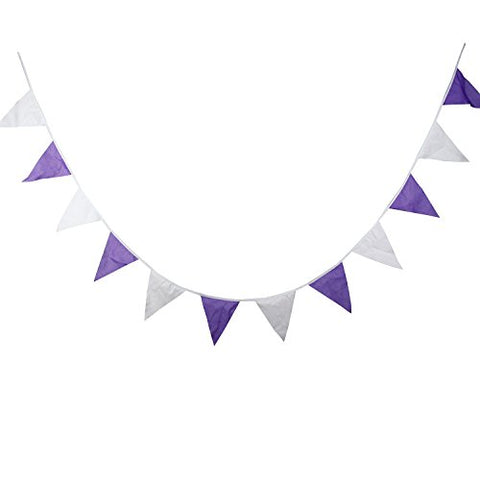 INFEI Solid Purple White Cotton Fabric Flag Buntings Garlands Wedding Banner Sign Party Decoration