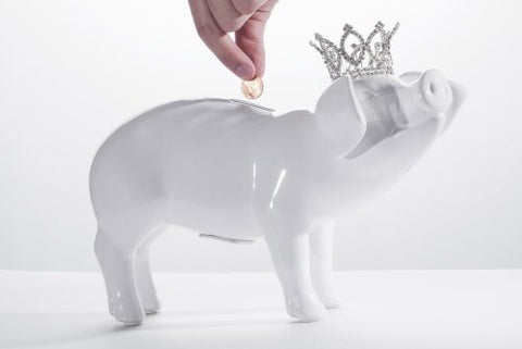 Piggy bank with crystal crown
