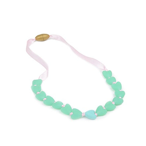 Juniorbeads By Chewbeads Spring Heart Jr. Necklace, 100% Safe Silicone-Spearmint