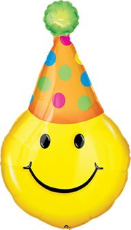 Yellow Smiley Party Hat 39 Mylar Balloon Decoration