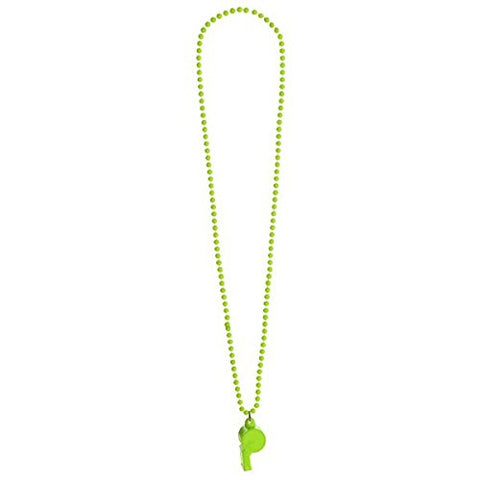 Amscan Whistle On Bead Chain Necklace, Party Accessory, Neon