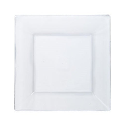 Lillian Tablesettings 10 Count Square Plastic Dinner Plates, 8 , Clear
