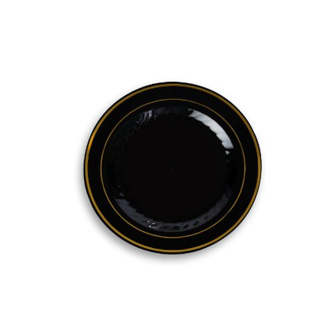 Fineline Settings Silver Splendor Black With Gold Round China-Like 6 Plate  150 Pieces