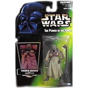 Star Wars Power of the Force Tusken Raider Green Card Action Figure with Gaderffi Stick Battle Club by Kenner