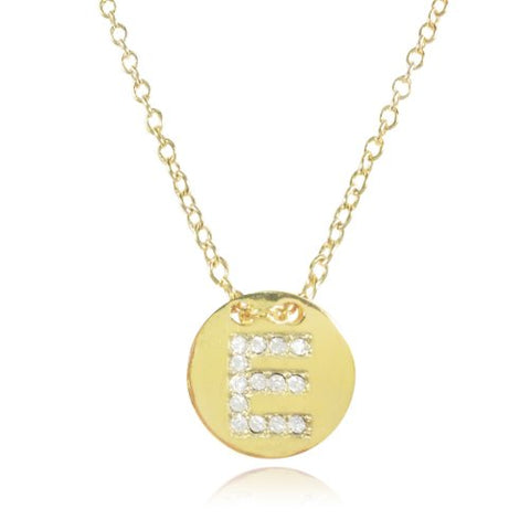 Wrapables Gold Plated Initial Letter Pendant Necklace, Letter E