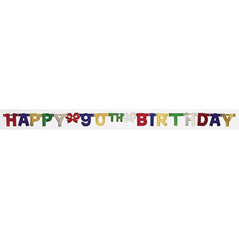 Creative Converting Party Decoration Jointed Banner, Happy 90th Birthday, 6-Feet