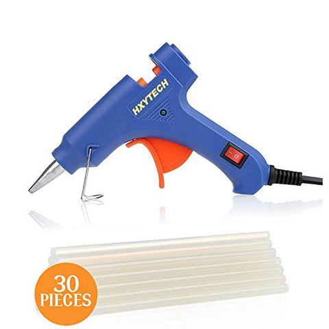 HXYTECH Mini Hot Glue Gun with 30 Pieces Melt Glue Sticks, 20 Watts Blue High Temperature Glue Gun for DIY Small Craft Projects Sealing and Repairs