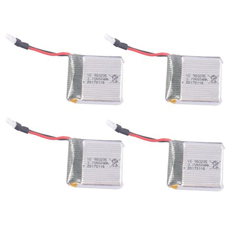 YouCute 4PCS 650mah Battery for TOZO X8tw Q1012 Focus FPV Drone QQPOW X8 Rc Quadcopter Spare Parts (4PCS 650mAh batteries)