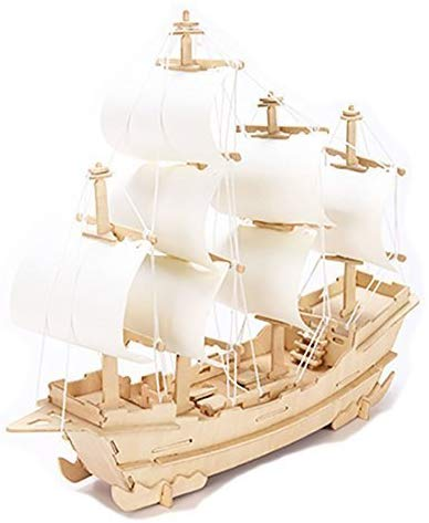 3D Sailboat Diy Wooden Jigsaw Puzzle Toy Or Hobby Decorative Merchant Ship Boat Model Gift By Stong