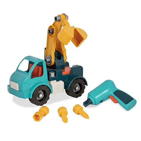 Battat  Take-Apart Crane Truck  Toy vehicle assembly playset with functional battery-powered drill - Early childhood developmental skills toy for kids aged 3 and up