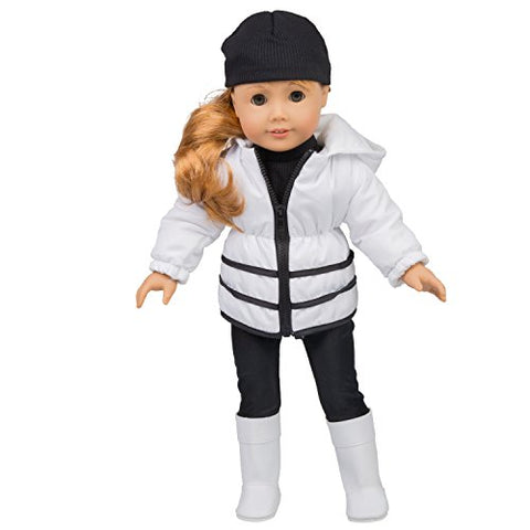 Winter Outfit for American Girl Dolls - 5 pc Clothes Set w Jacket, Shirt, Hat, Boots, and Leggings