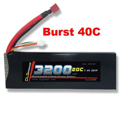 DLG 7.4V 3200mAh 2S 20C Burst 40C LiPO Li-Po High-Discharge Rate Powerful Battery with Dean's T Plug