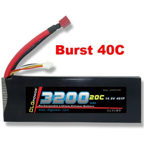 DLG 20C Burst 40C 4S 3200mAh 14.8V LiPO Li-Po High-Discharge Rate Powerful Battery with Dean's T Plug
