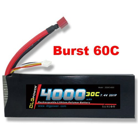 DLG 30C Burst 60C 2S 4000mAh 7.4V LiPO Li-Po High-Discharge Rate Powerful Battery with Dean's T Plug