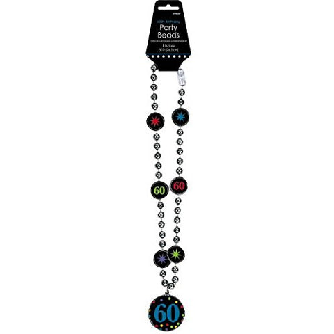 The Party Continuous 60th Birthday Party Bead Necklace , Black/Blue , 17  Plastic beads with medallion