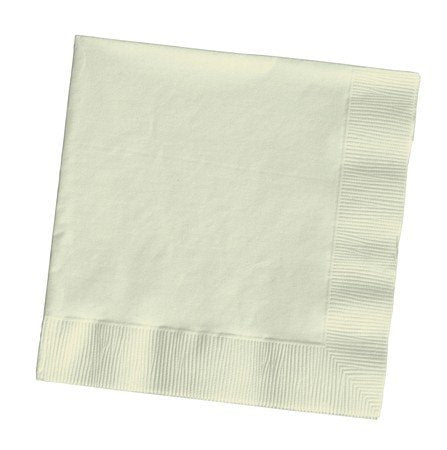 100 Gorgeous Ivory Lunch/Dinner Napkins For Wedding/Party/Event, 2Ply, Disposable, Large Size 6.5X6.5