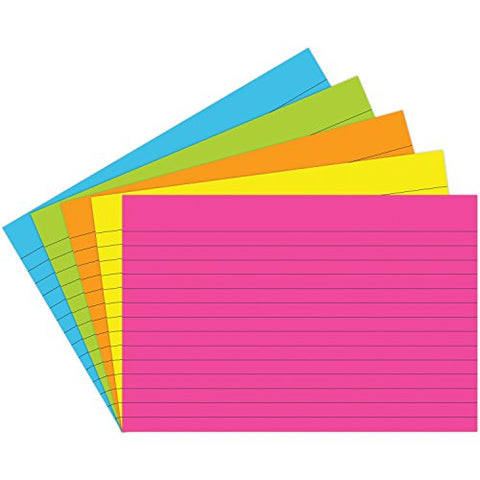 Top Notch Teacher Products TOP363 Lined Brite Assorted Index Cards, 0.75  Height, 6  Wide, 4  Length (75 Cards per Package)
